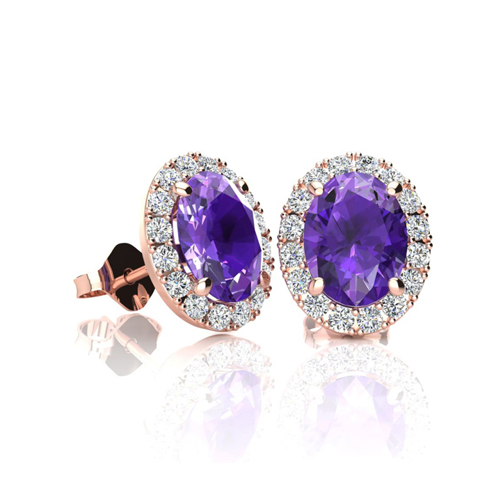 1 Carat Oval Shape Amethyst and Halo Diamond Stud Earrings In 14 Karat Rose Gold