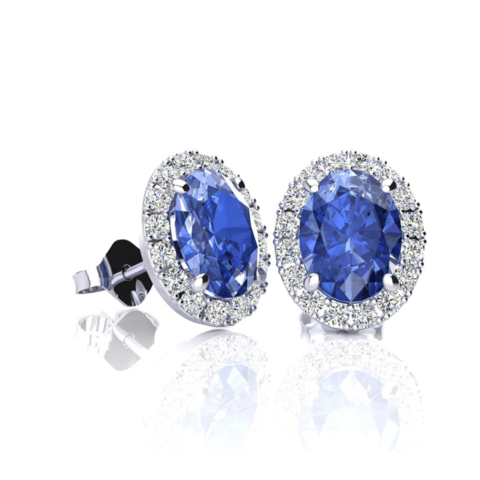 1 1/4 Carat Oval Shape Tanzanite and Halo Diamond Stud Earrings In 10 Karat White Gold