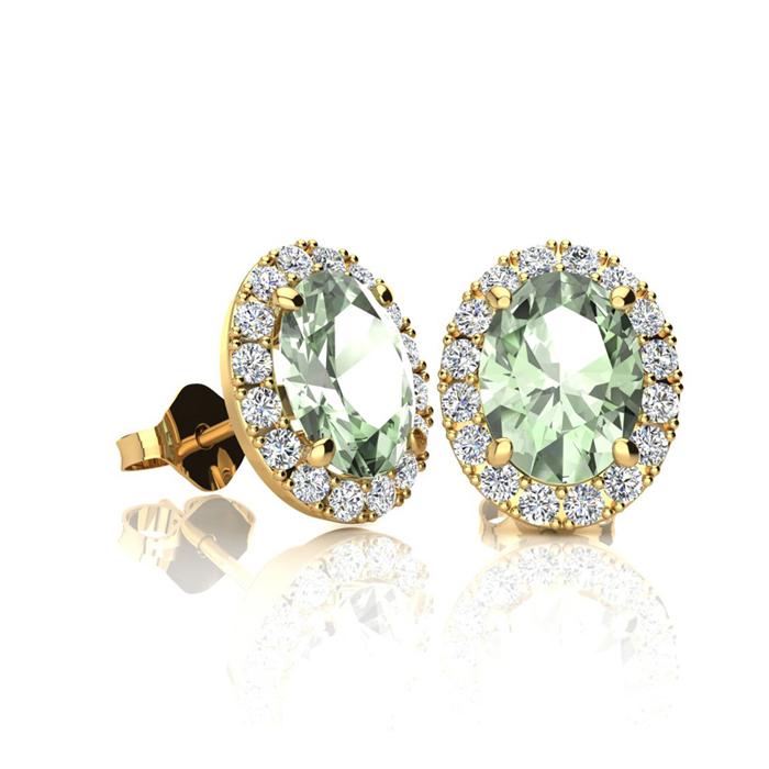 1 Carat Oval Shape Green Amethyst and Halo Diamond Stud Earrings In 10 Karat Yellow Gold