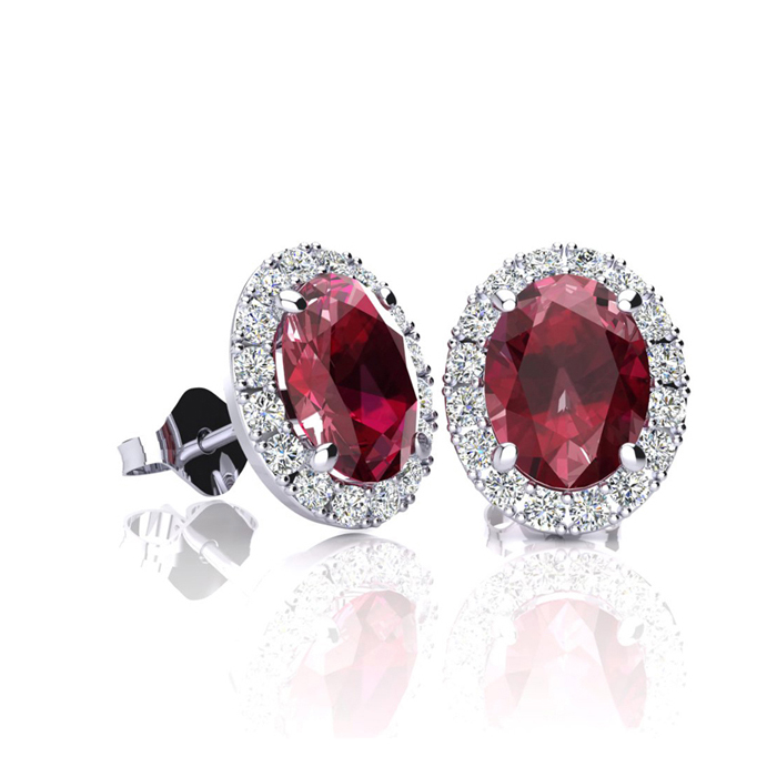 1 1/4 Carat Oval Shape Ruby and Halo Diamond Stud Earrings In 14 Karat White Gold