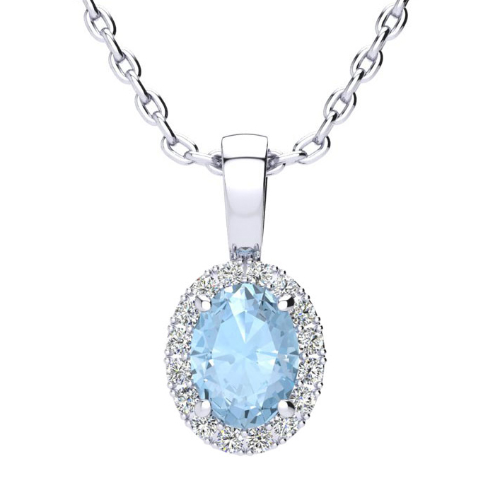 0.90 Carat Oval Shape Aquamarine and Halo Diamond Necklace In 14 Karat White Gold With 18 Inch Chain