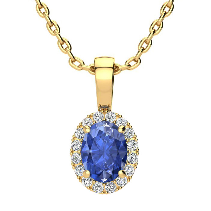 1 Carat Oval Shape Tanzanite and Halo Diamond Necklace In 10 Karat Yellow Gold With 18 Inch Chain