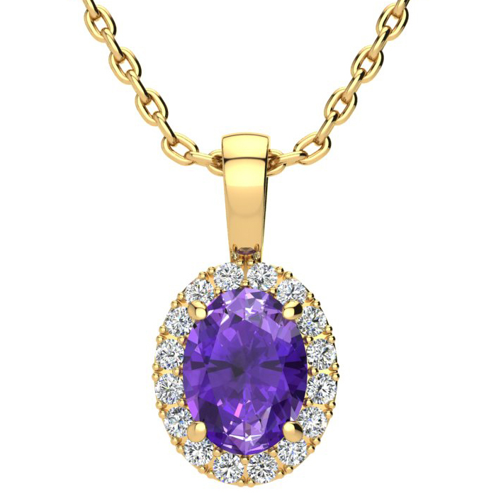 1 1/4 Carat Oval Shape Amethyst and Halo Diamond Necklace In 14 Karat Yellow Gold With 18 Inch Chain