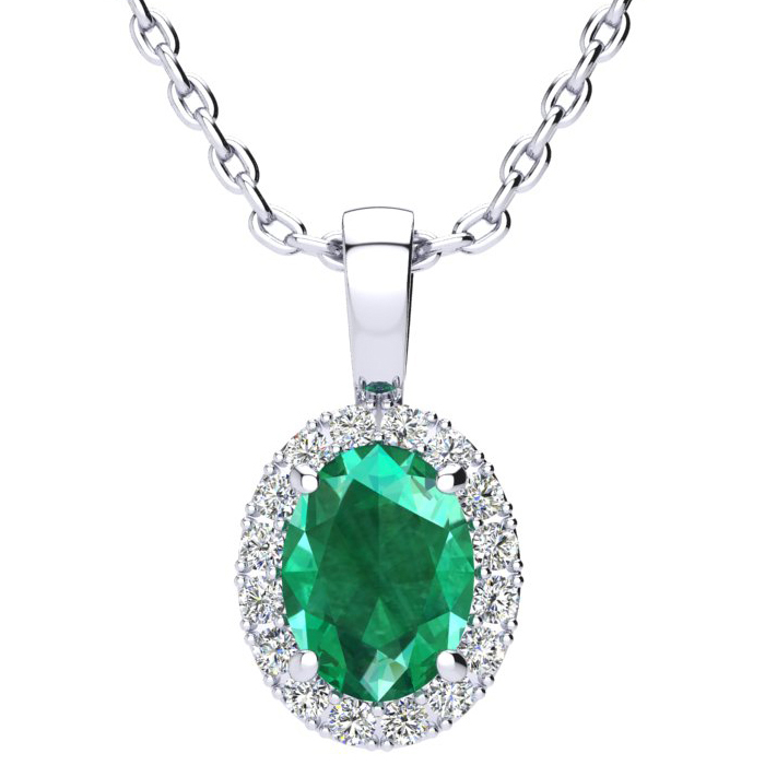 1 1/3 Carat Oval Shape Emerald and Halo Diamond Necklace In 10 Karat White Gold With 18 Inch Chain