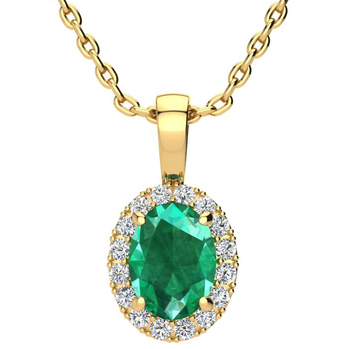 1 1/3 Carat Oval Shape Emerald and Halo Diamond Necklace In 10 Karat Yellow Gold With 18 Inch Chain