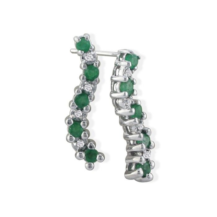 1/2ct Emerald and Diamond Earrings in 10k White Gold