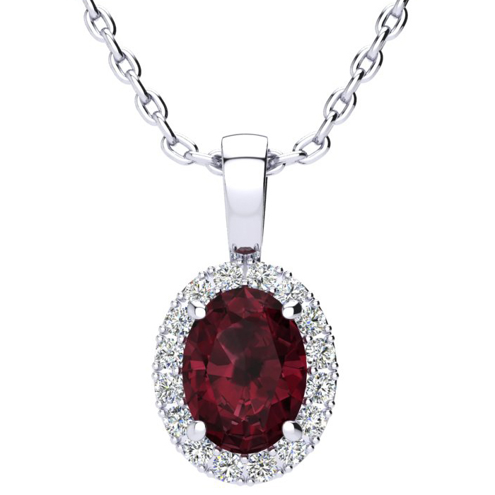 1 1/2 Carat Oval Shape Garnet and Halo Diamond Necklace In 10 Karat White Gold With 18 Inch Chain