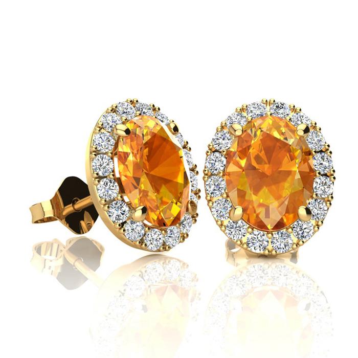 1 1/2 Carat Oval Shape Citrine and Halo Diamond Stud Earrings In 14 Karat Yellow Gold