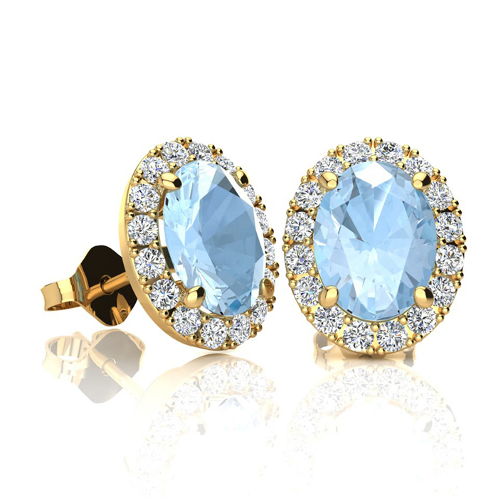 1 3/4 Carat Oval Shape Aquamarine and Halo Diamond Stud Earrings In 14 Karat Yellow Gold