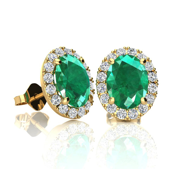1 3/4 Carat Oval Shape Emerald and Halo Diamond Stud Earrings In 14 Karat Yellow Gold