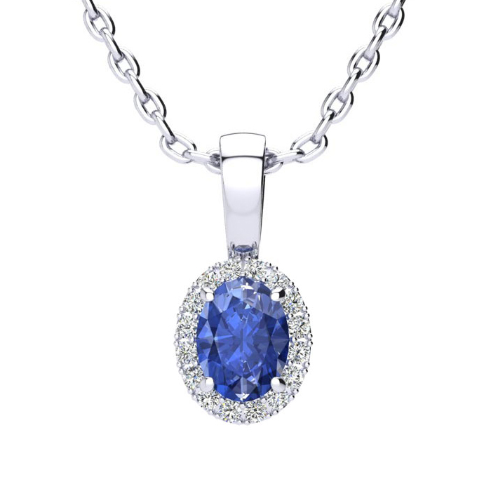 0.62 Carat Oval Shape Tanzanite and Halo Diamond Necklace In 10 Karat White Gold With 18 Inch Chain