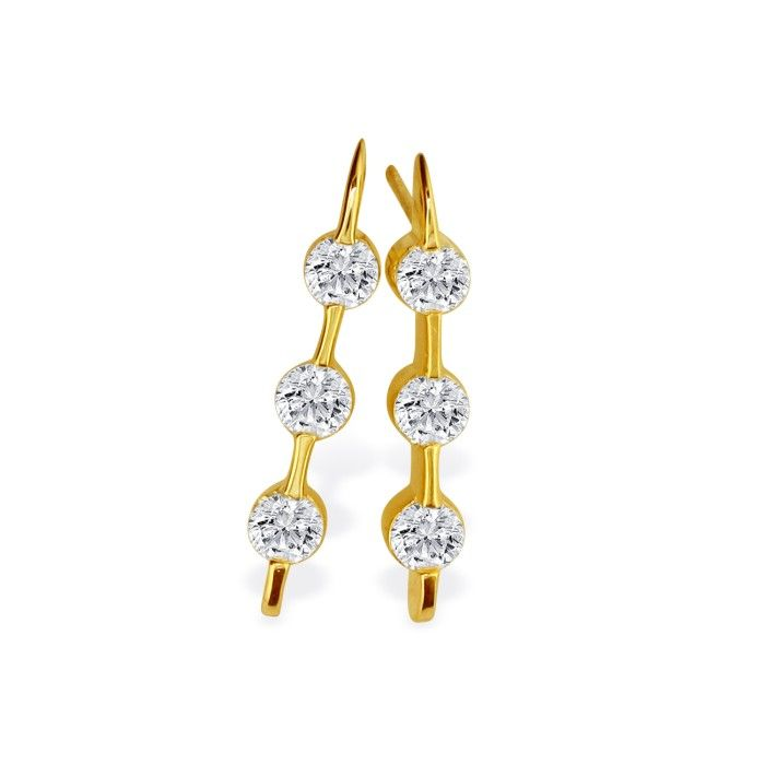 Contemporary 1ct Channel Set Diamond Earrings in 14k Yellow Gold
