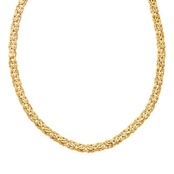 14 Karat Yellow Gold 7.20mm 18 Inch Shiny Byzantine Necklace