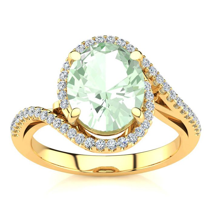 2 1/2 Carat Oval Shape Green Amethyst and Halo Diamond Ring In 14 Karat Yellow Gold