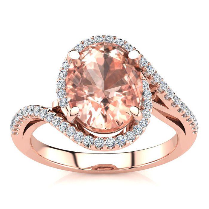 2 1/2 Carat Oval Shape Morganite and Halo Diamond Ring In 14 Karat Rose Gold