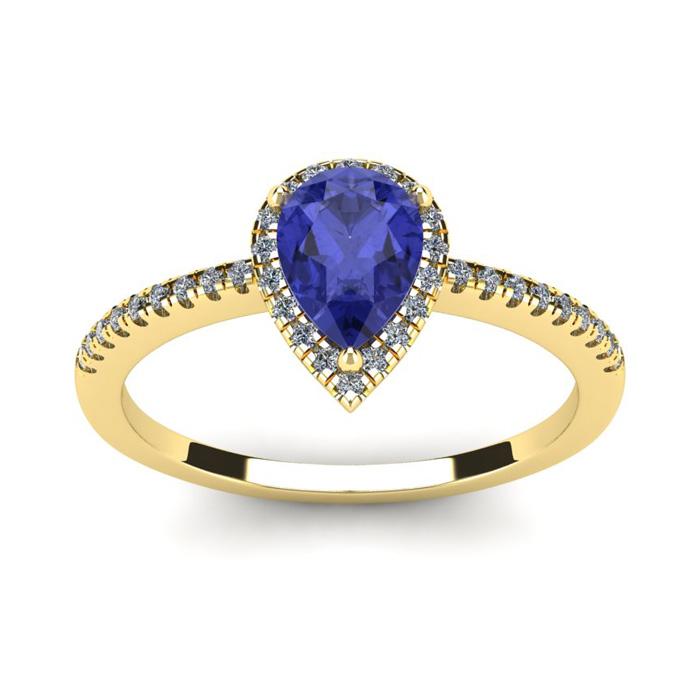 1 Carat Pear Shape Tanzanite and Halo Diamond Ring In 14 Karat Yellow Gold