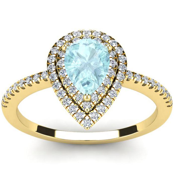 1 Carat Pear Shape Aquamarine and Double Halo Diamond Ring In 14 Karat Yellow Gold