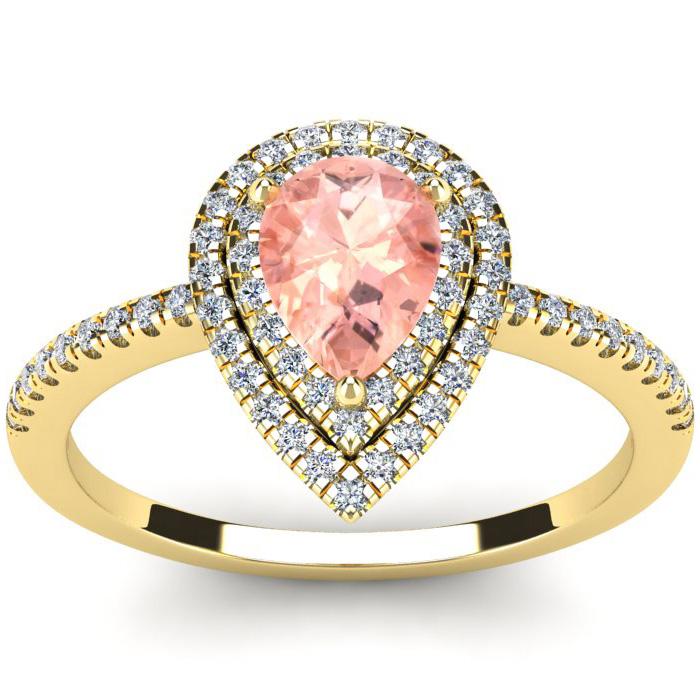 1 Carat Pear Shape Morganite and Double Halo Diamond Ring In 14 Karat Yellow Gold