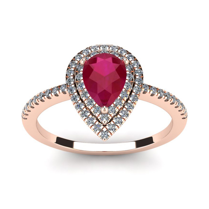 1 Carat Pear Shape Ruby and Double Halo Diamond Ring In 14 Karat Rose Gold