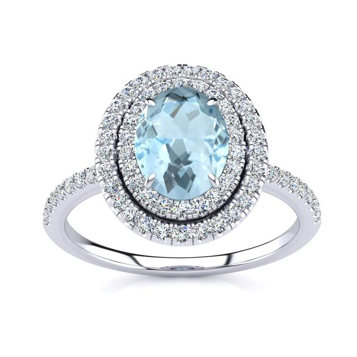 1 1/2 Carat Oval Shape Aquamarine and Double Halo Diamond Ring In 14 Karat White Gold