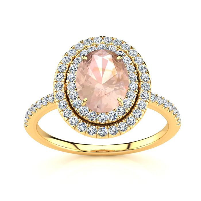 1 1/2 Carat Oval Shape Morganite and Double Halo Diamond Ring In 14 Karat Yellow Gold