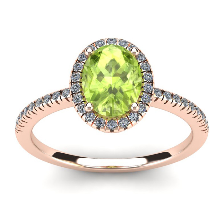 1 1/2 Carat Oval Shape Peridot and Halo Diamond Ring In 14 Karat Rose Gold