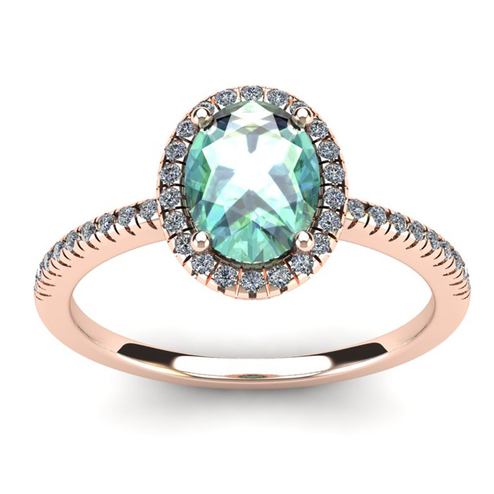 1 1/4 Carat Oval Shape Green Amethyst and Halo Diamond Ring In 14 Karat Rose Gold