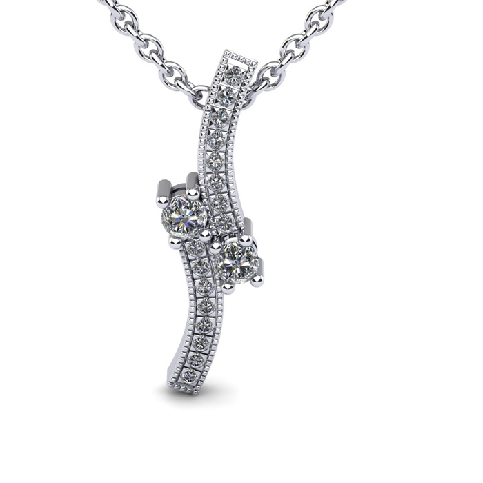 1/3 Carat Two Stone Diamond Swirl Necklace In 14K White Gold