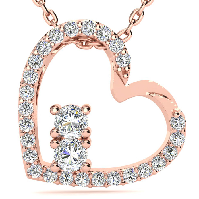 1/2 Carat Two Stone Diamond Heart Necklace In 14K Rose Gold