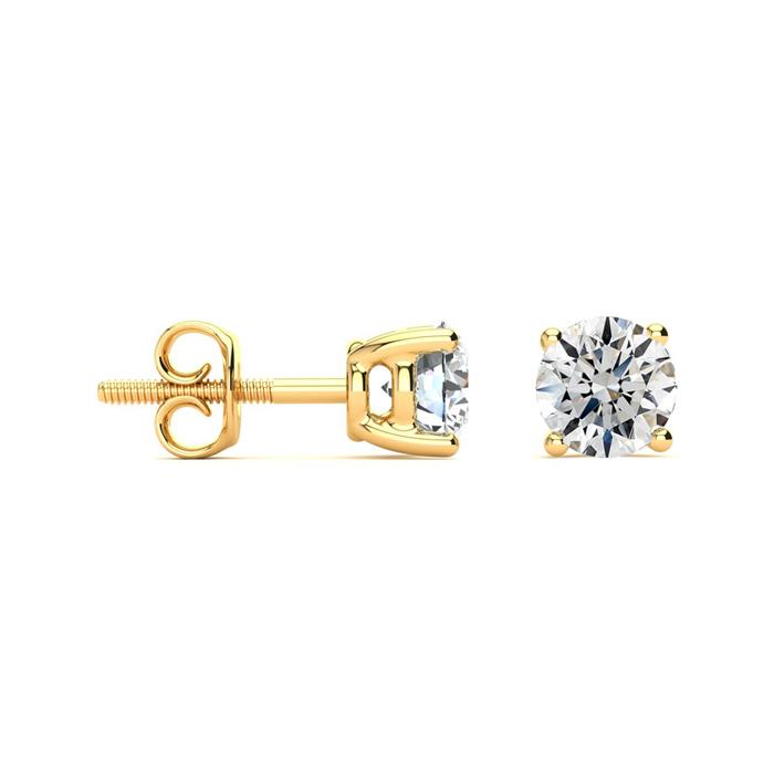 1 1/2ct Round Diamond Stud Earrings Set in 14K Yellow Gold