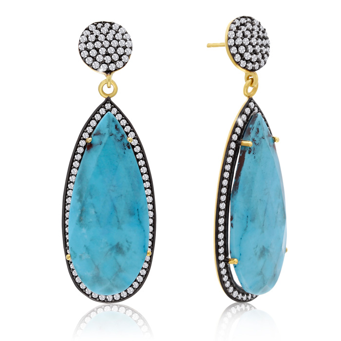 48 Carat Pear Shape Turquoise and Simulated Diamond Dangle Earrings In 14K Yellow Gold