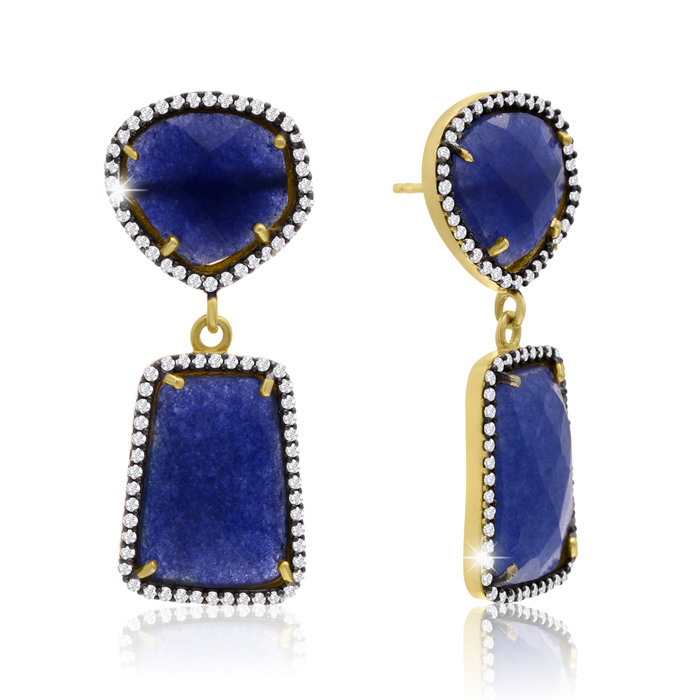 56 Carat Sapphire and Simulated Diamond Earrings In 14K Yellow Gold