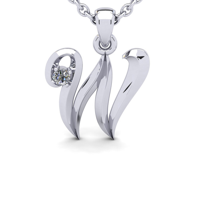 Diamond Accent W Swirly Initial Necklace In White Gold With Free 18 Inch Cable Chain