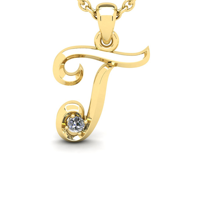 Diamond Accent T Swirly Initial Necklace In Yellow Gold With Free 18 Inch Cable Chain