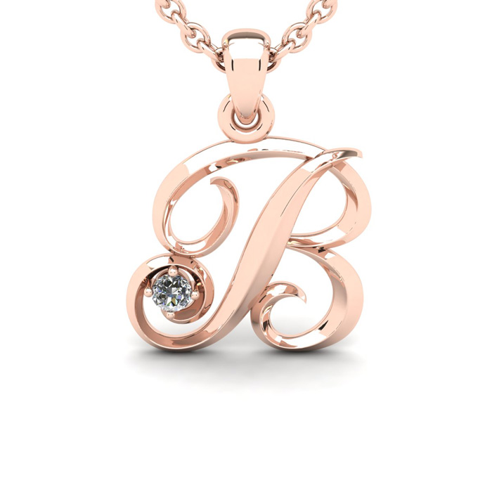 Diamond Accent B Swirly Initial Necklace In Rose Gold With Free 18 Inch Cable Chain