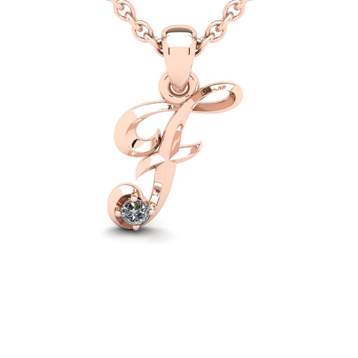 Diamond Accent F Swirly Initial Necklace In Rose Gold With Free 18 Inch Cable Chain