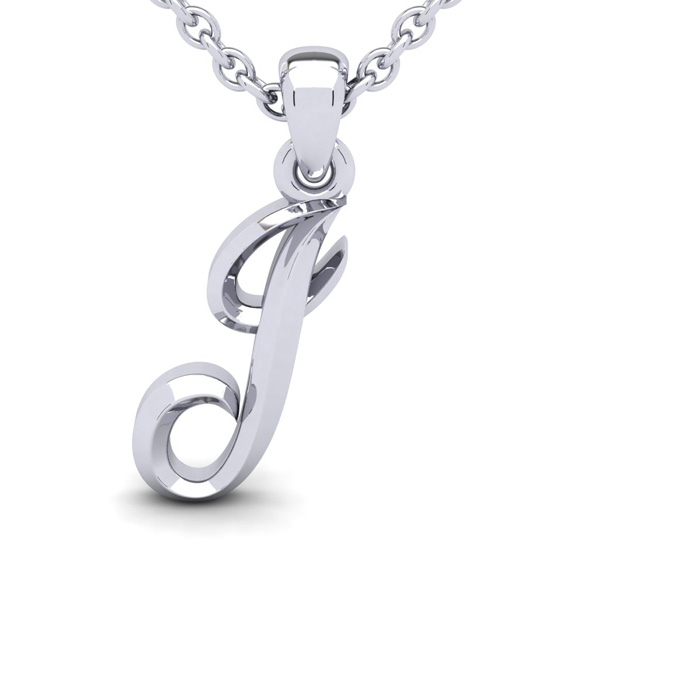 J Swirly Initial Necklace In Heavy White Gold With Free 18 Inch Cable Chain