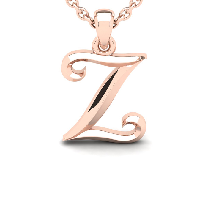 Z Swirly Initial Necklace In Heavy Rose Gold With Free 18 Inch Cable Chain
