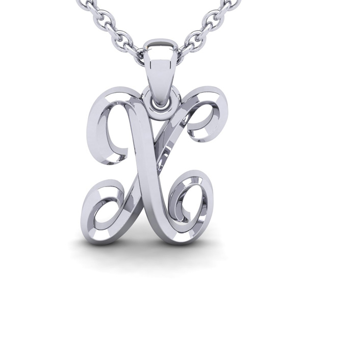 X Swirly Initial Necklace In Heavy 14K White Gold With Free 18 Inch Cable Chain