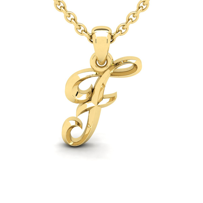 F Swirly Initial Necklace In Heavy 14K Yellow Gold With Free 18 Inch Cable Chain