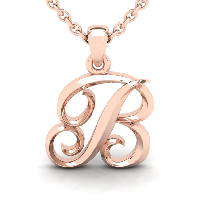 B Swirly Initial Necklace In Heavy 14K Rose Gold With Free 18 Inch Cable Chain