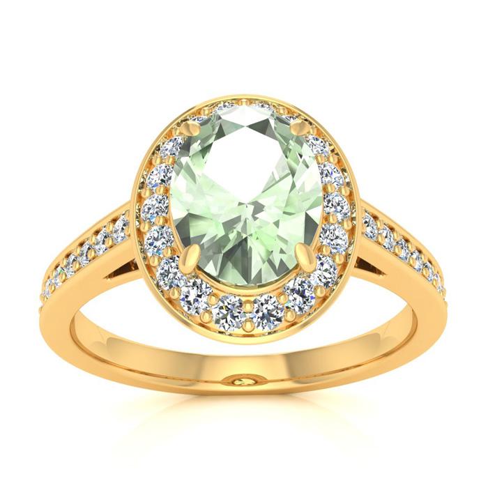 1 1/3 Carat Oval Shape Green Amethyst and Halo Diamond Ring In 14 Karat Yellow Gold