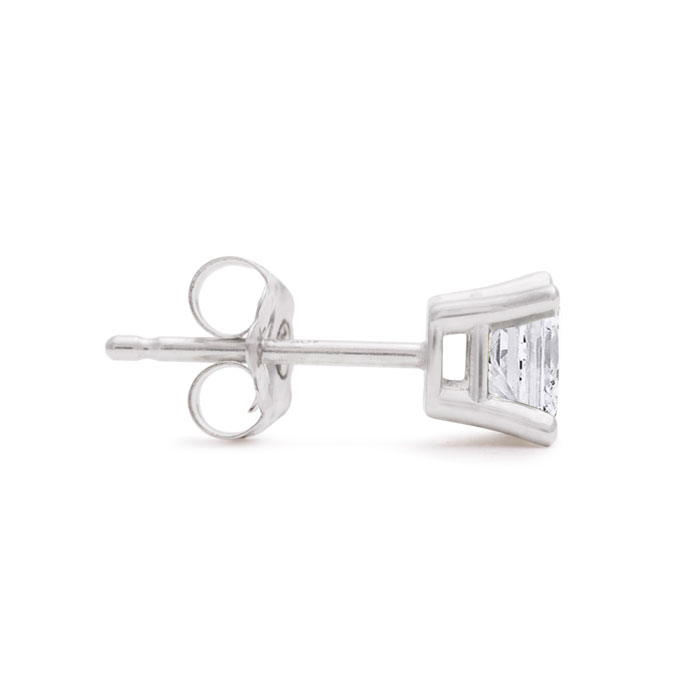 Closeout! 3/4ct Princess Diamond Stud Earrings In 14k White Gold SINGLE STUD ONLY