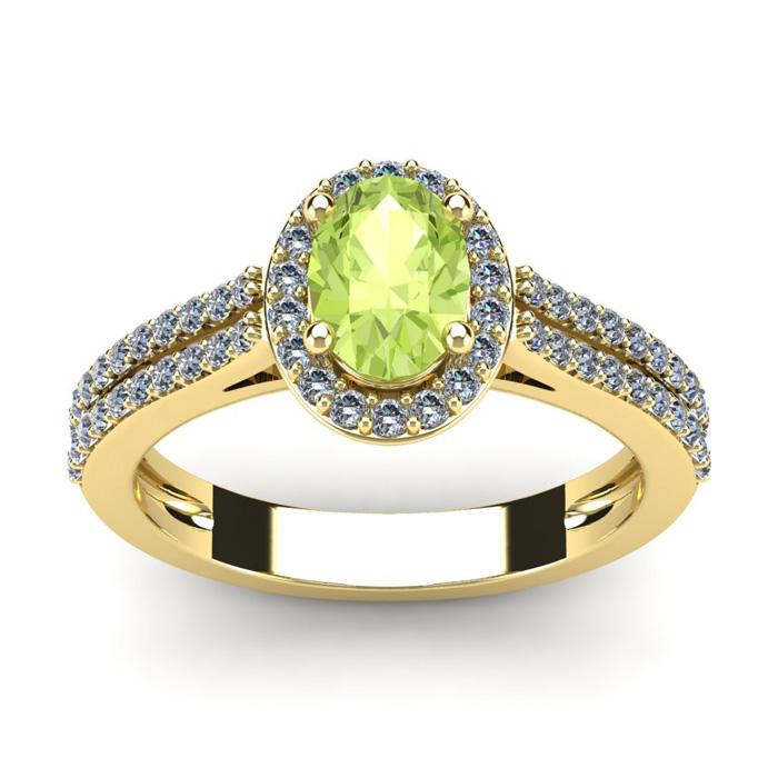 1 1/3 Carat Oval Shape Peridot and Halo Diamond Ring In 14 Karat Yellow Gold