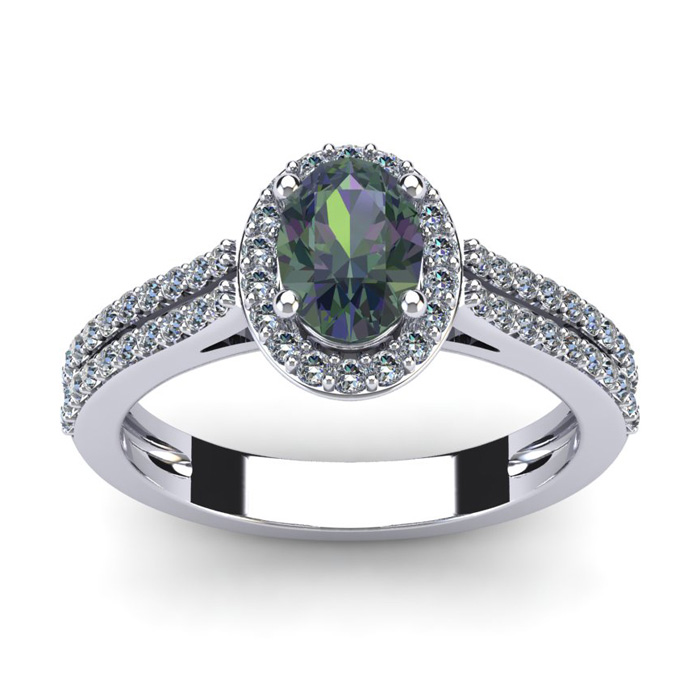 1 1/2 Carat Oval Shape Mystic Topaz and Halo Diamond Ring In 14 Karat White Gold