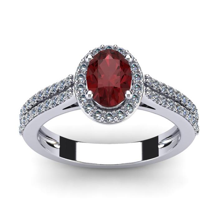 1 1/2 Carat Oval Shape Garnet and Halo Diamond Ring In 14 Karat White Gold