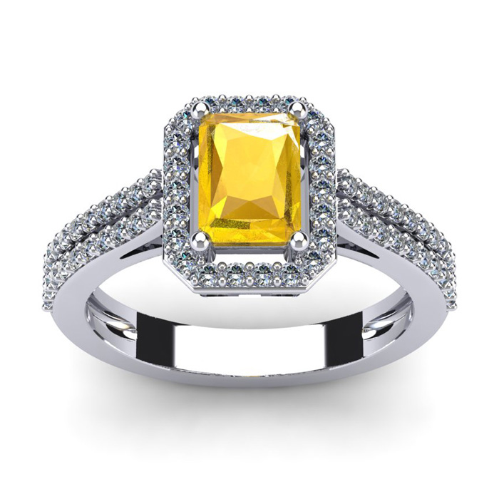 1 1/3 Carat Emerald Cut Citrine and Halo Diamond Ring In 14 Karat White Gold
