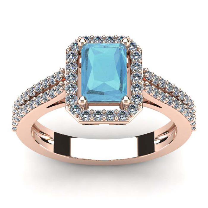 1 1/3 Carat Emerald Cut Aquamarine and Halo Diamond Ring In 14 Karat Rose Gold