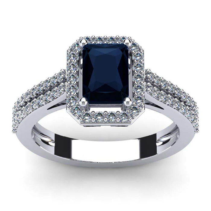 1 1/2 Carat Emerald Cut Sapphire and Halo Diamond Ring In 14 Karat White Gold