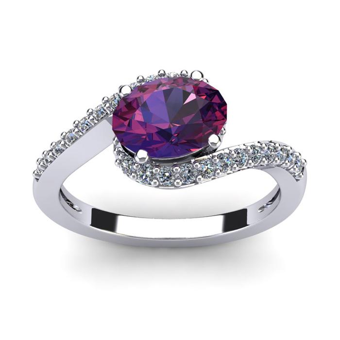 1 1/3 Carat Oval Shape Amethyst and Halo Diamond Ring In 14 Karat White Gold